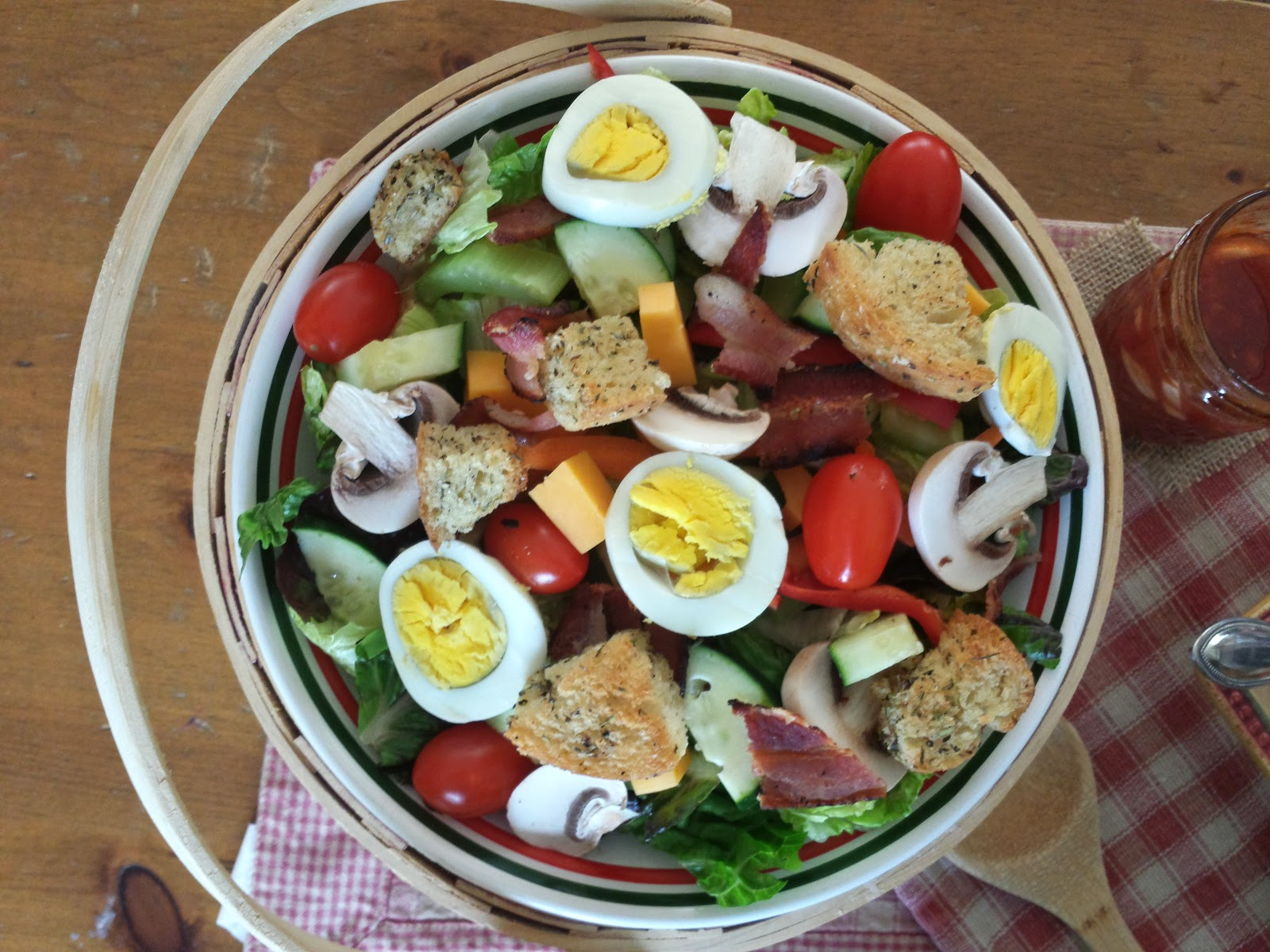 cobb salad in a basket