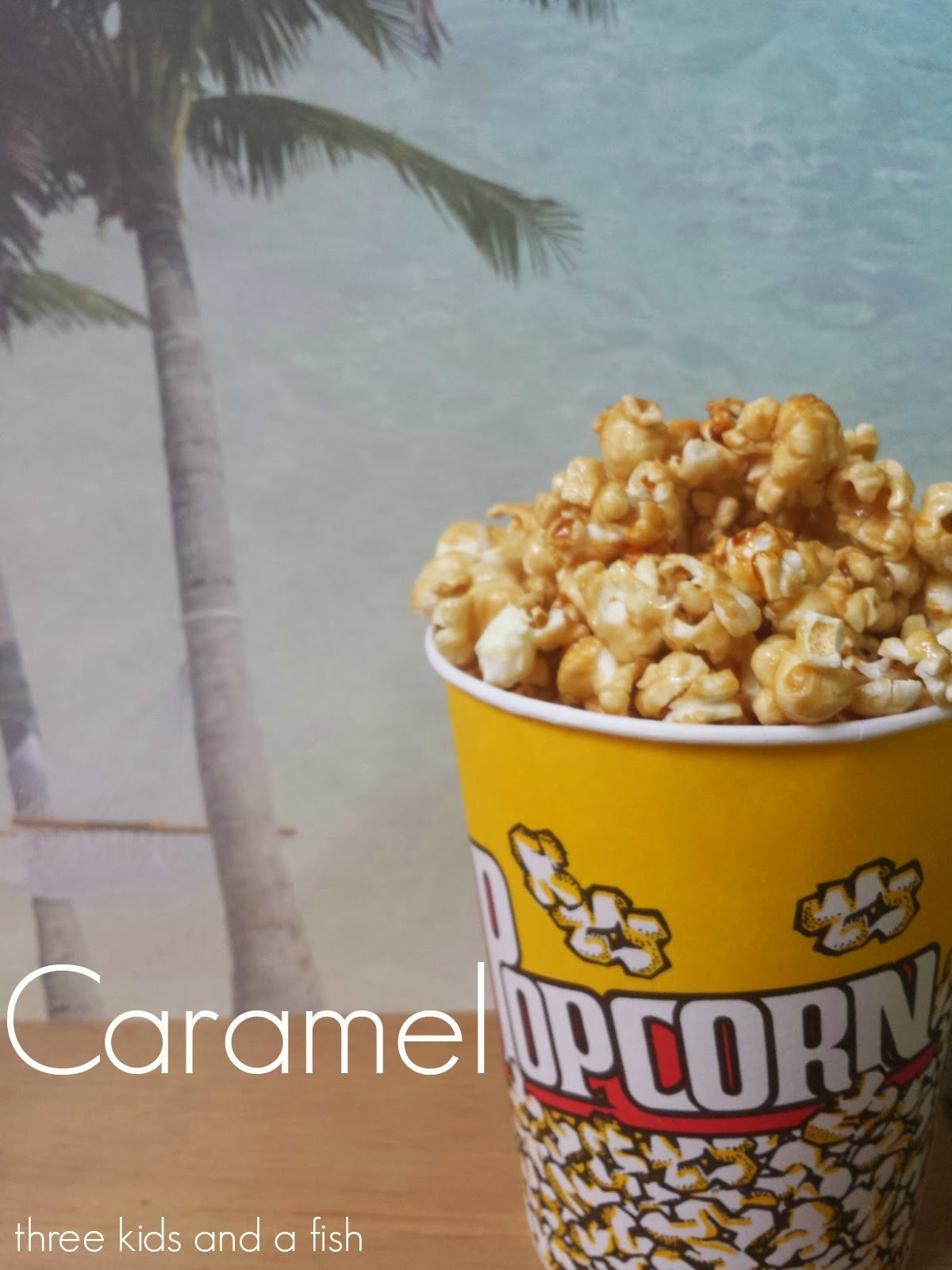 caramel popcorn with words