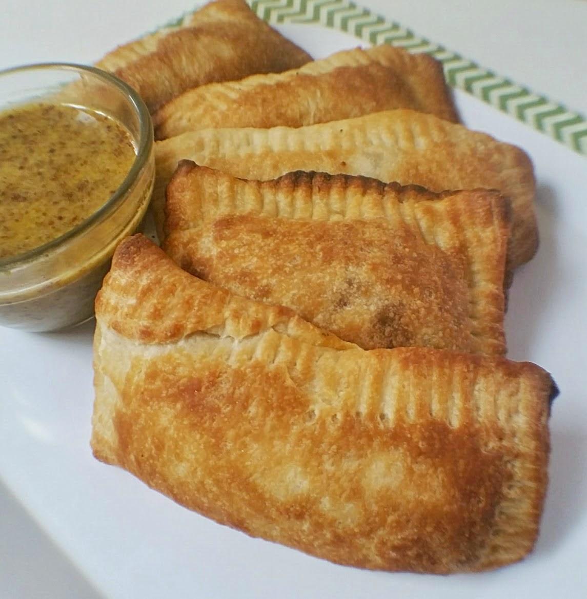 ham and cheese calzone with honey mustard dip