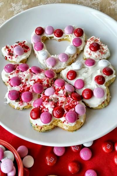 Heart Shaped Cake Mix Cookies