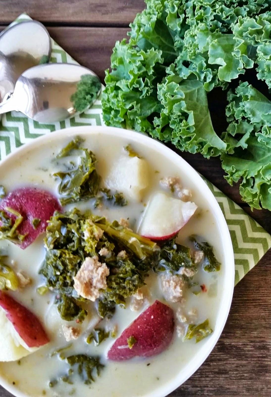 a bowl of sausage kale soup