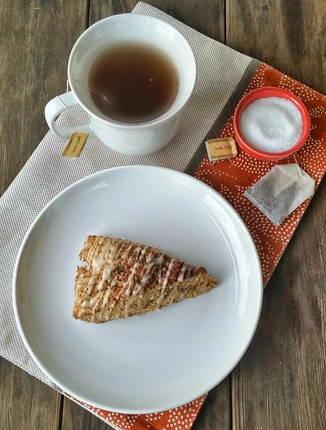 vanilla chai tea with cinnamon scone