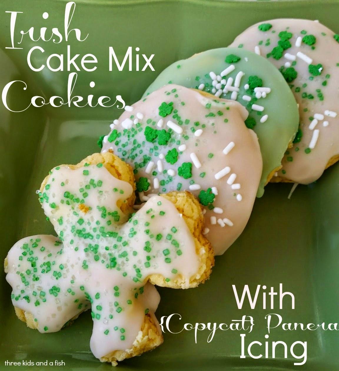 irish cake mix cookies with copycat panera bread icing