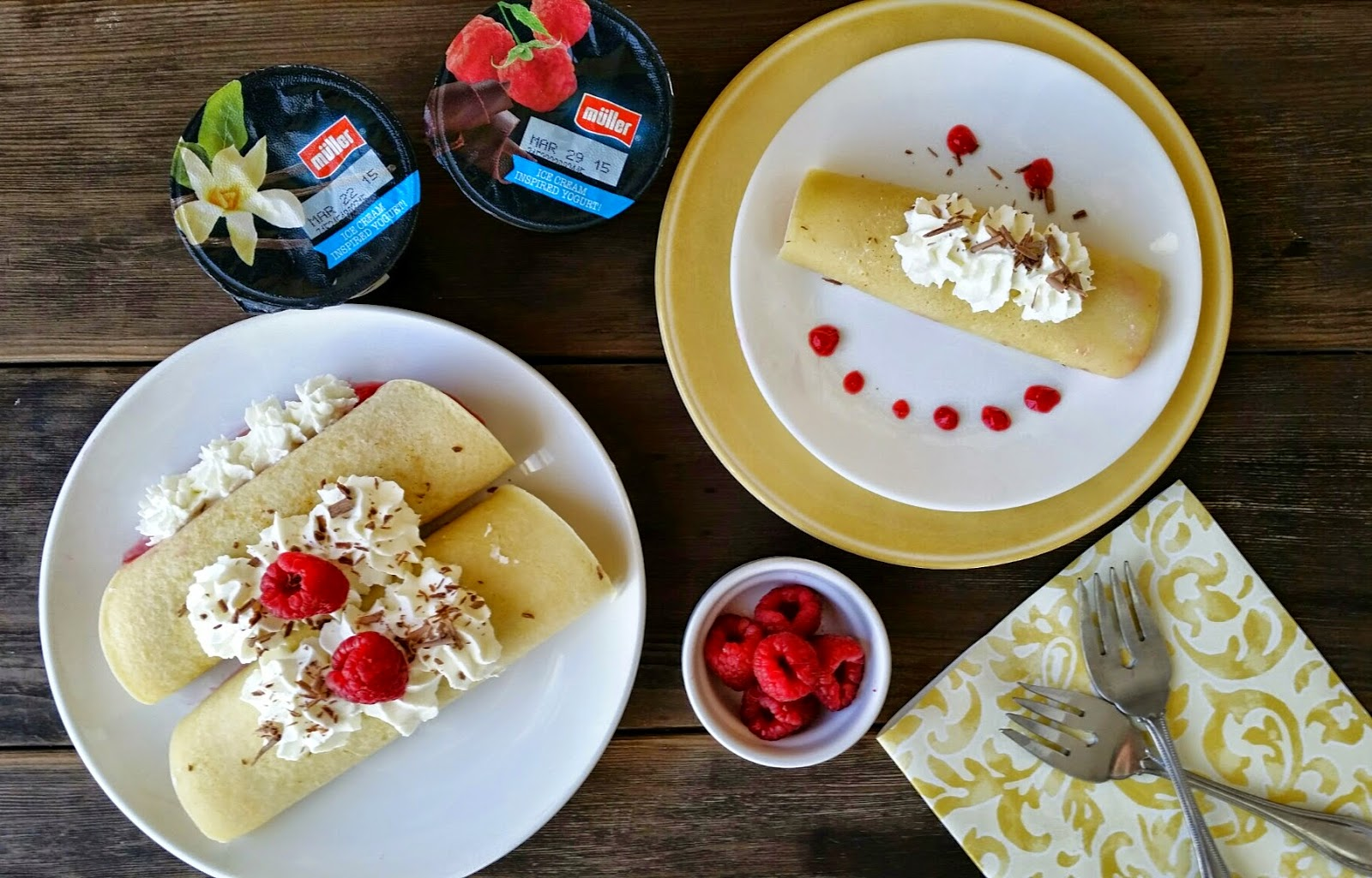 fruit and yogurt crepes