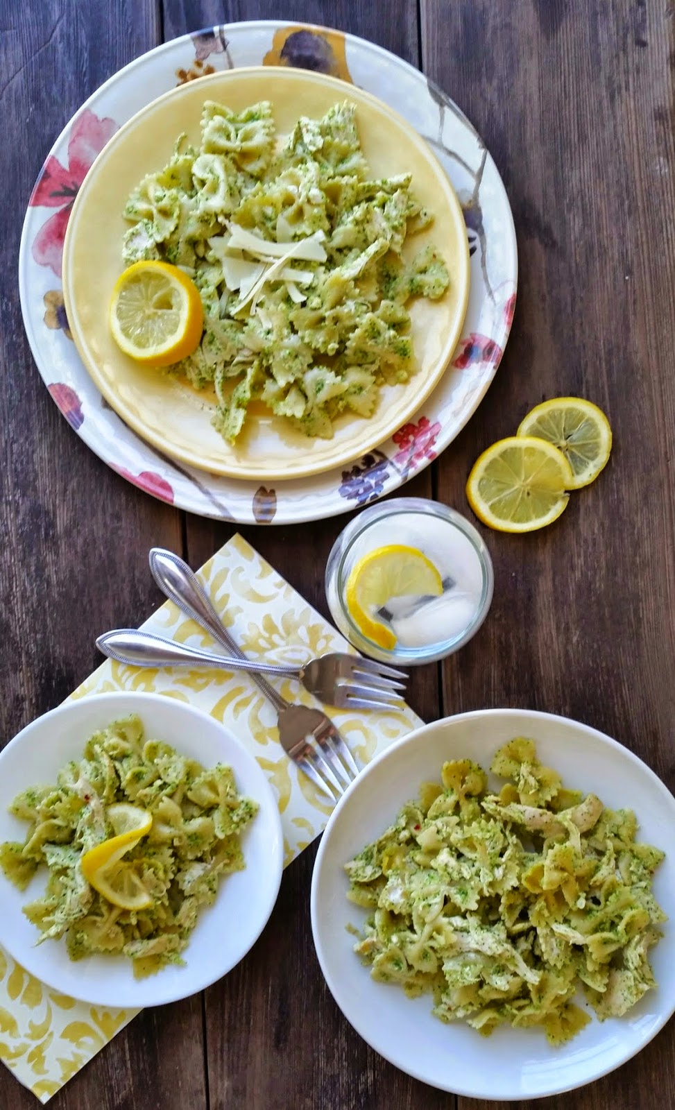 creamy chicken with broccoli pesto and basil