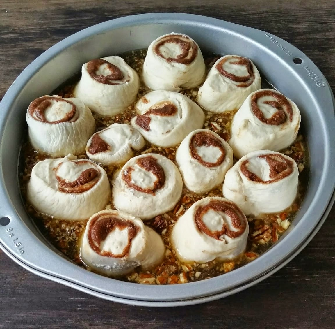 getting ready for the oven mini pecan sticky buns