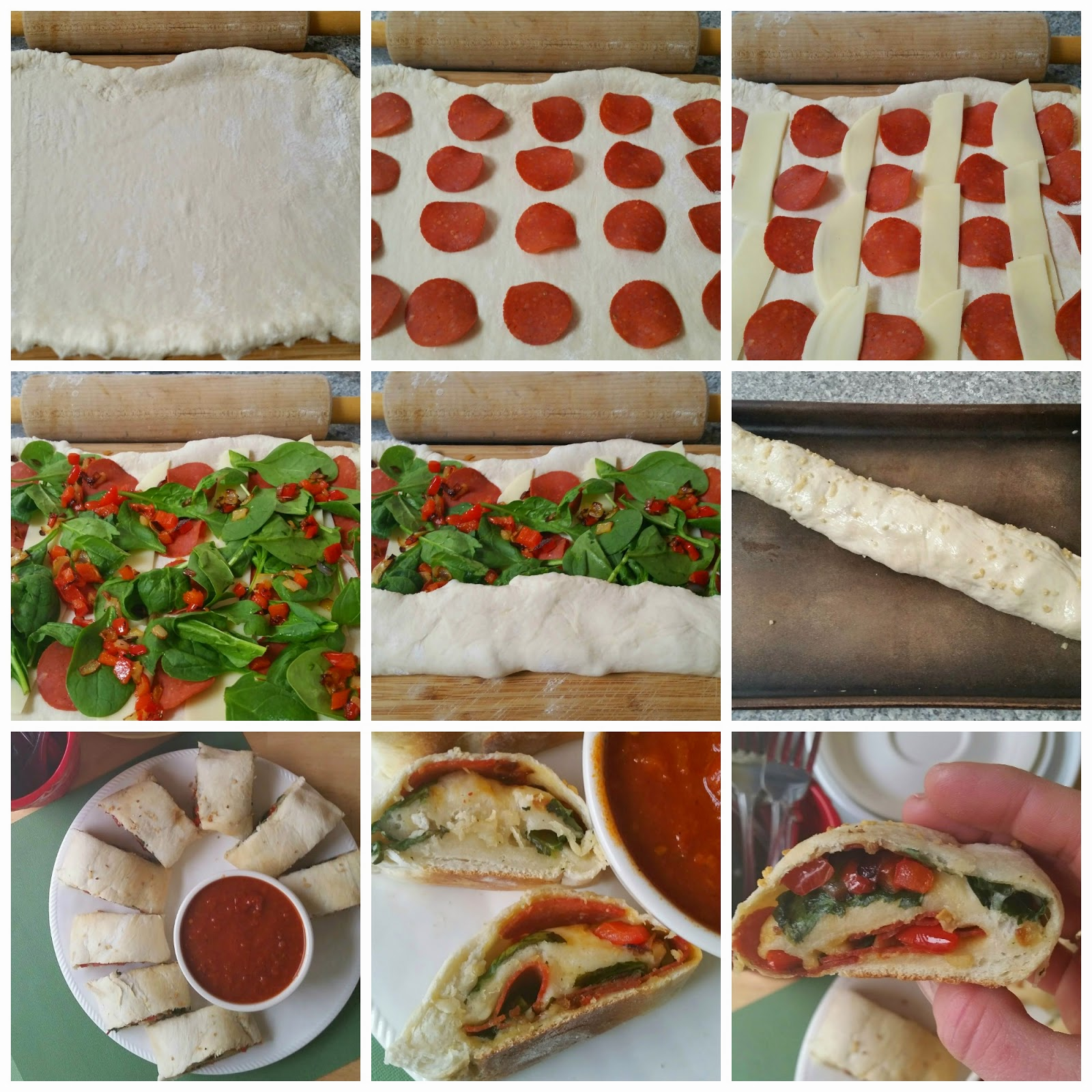 picture instructions for pepperoni spinach bread