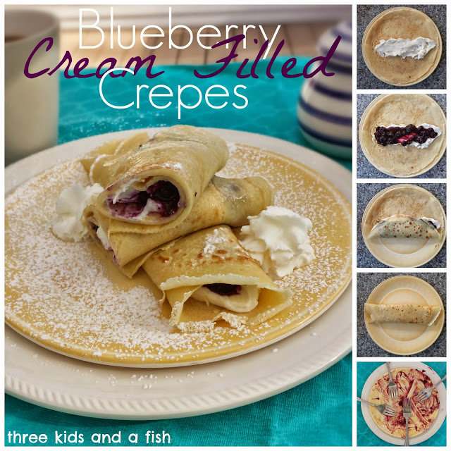 blueberry cream filled crepes