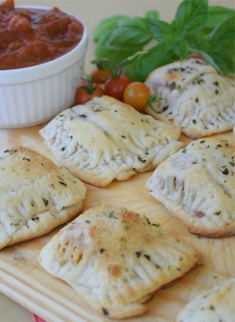 mini calzones with garden fresh tomato sauce