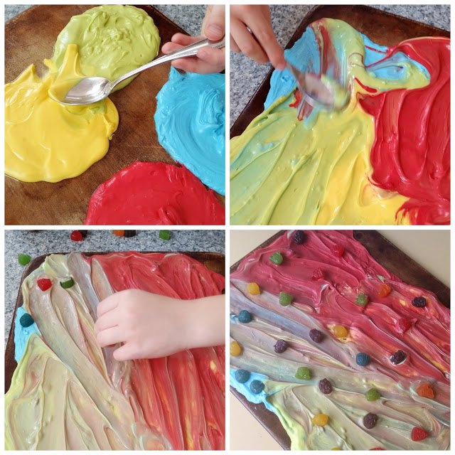 creating inside out candy bark