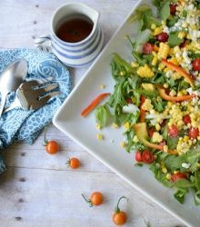 Grilled Corn, Tomato and Arugula Salad with Feta