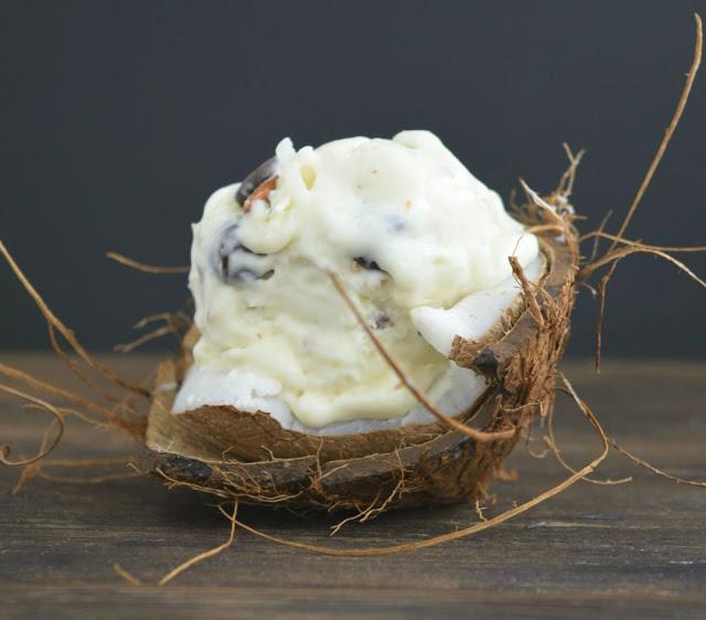 no church almond joy ice cream in a cconut