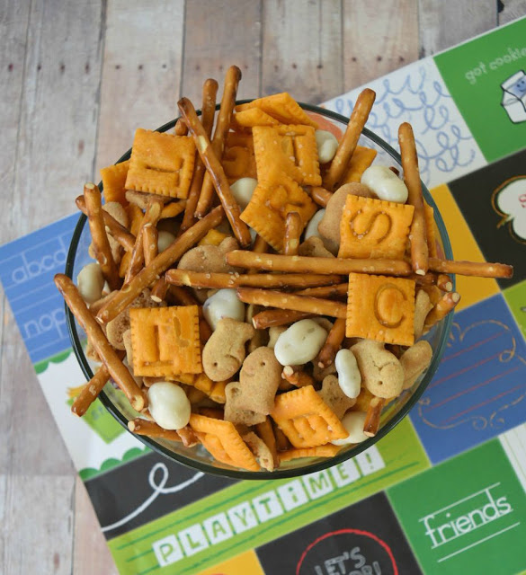 back to school snack mix in a bowl