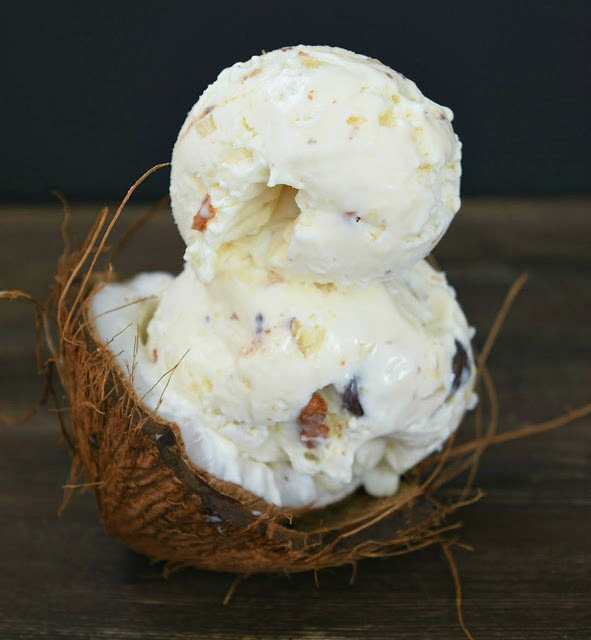 half coconut shell with no churn ice cream made with coconut milk