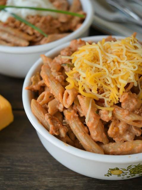 cheesy taco pasta in a bowl