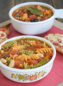 Minestrone Soup & Cheesy Garlic Tomato Bread