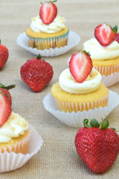 Strawberry- Filled Cupcakes with Cream Cheese Frosting