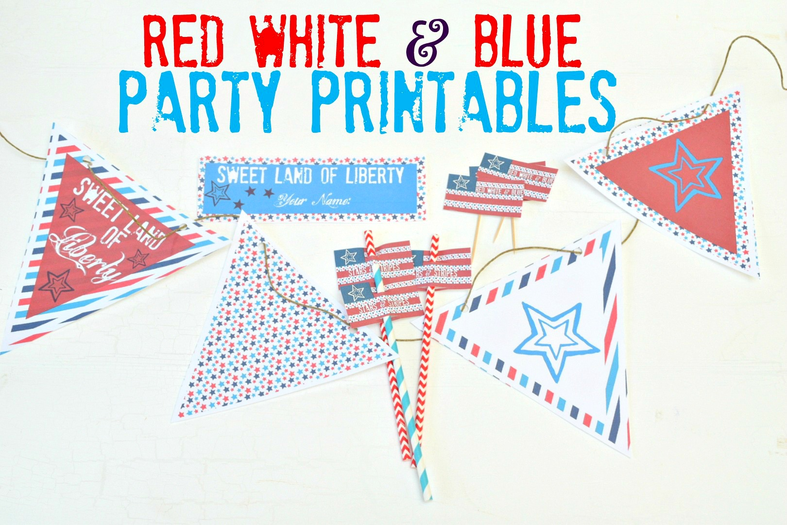 red white & blue party printables