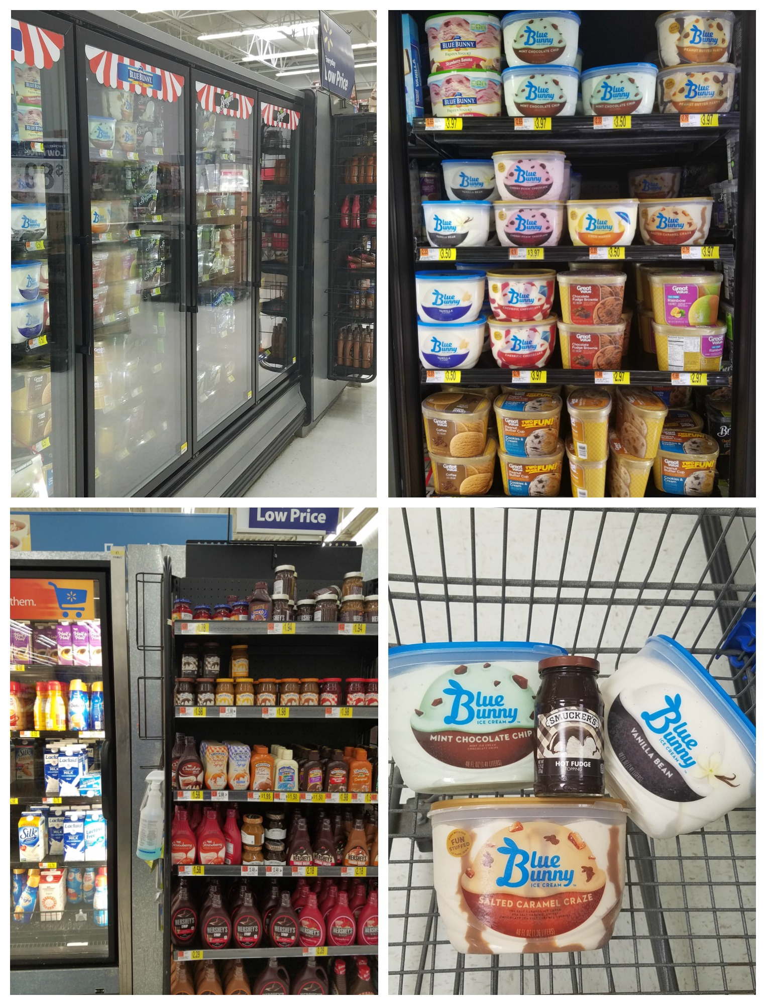shopping at walmart for ice cream and toppings
