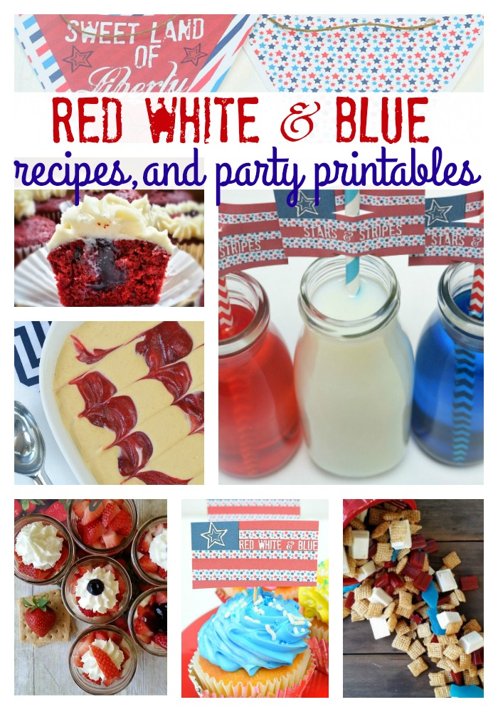 red white and blue recipes and party printables collage