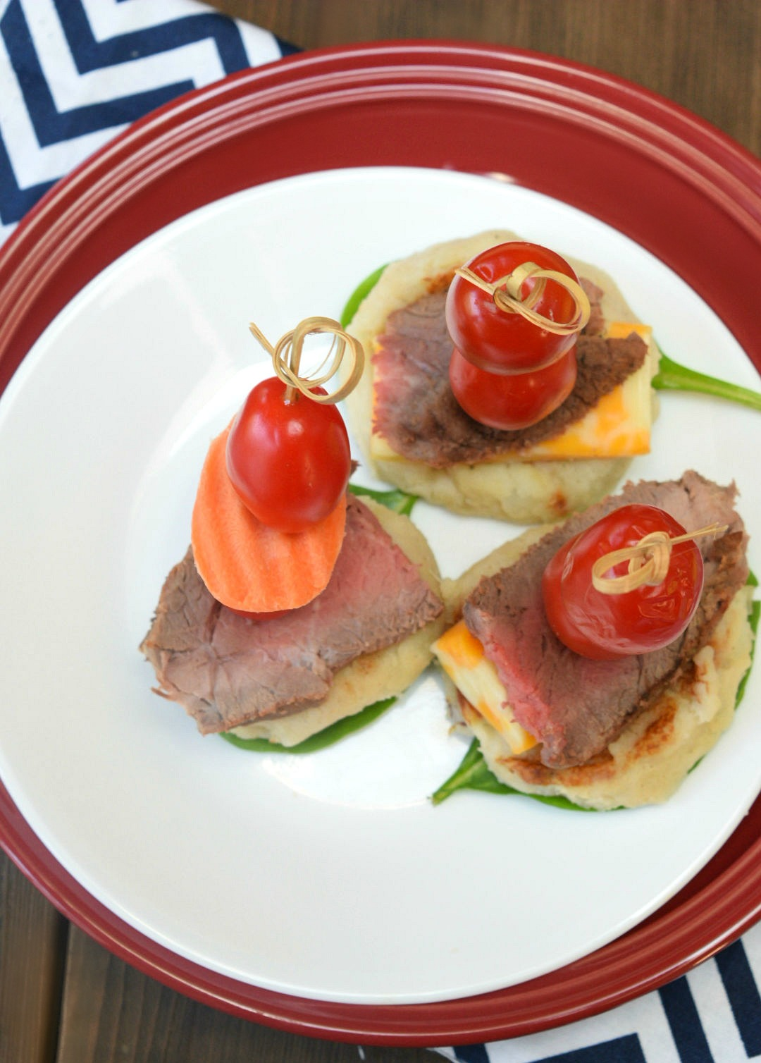 steak and potato bites on a plate