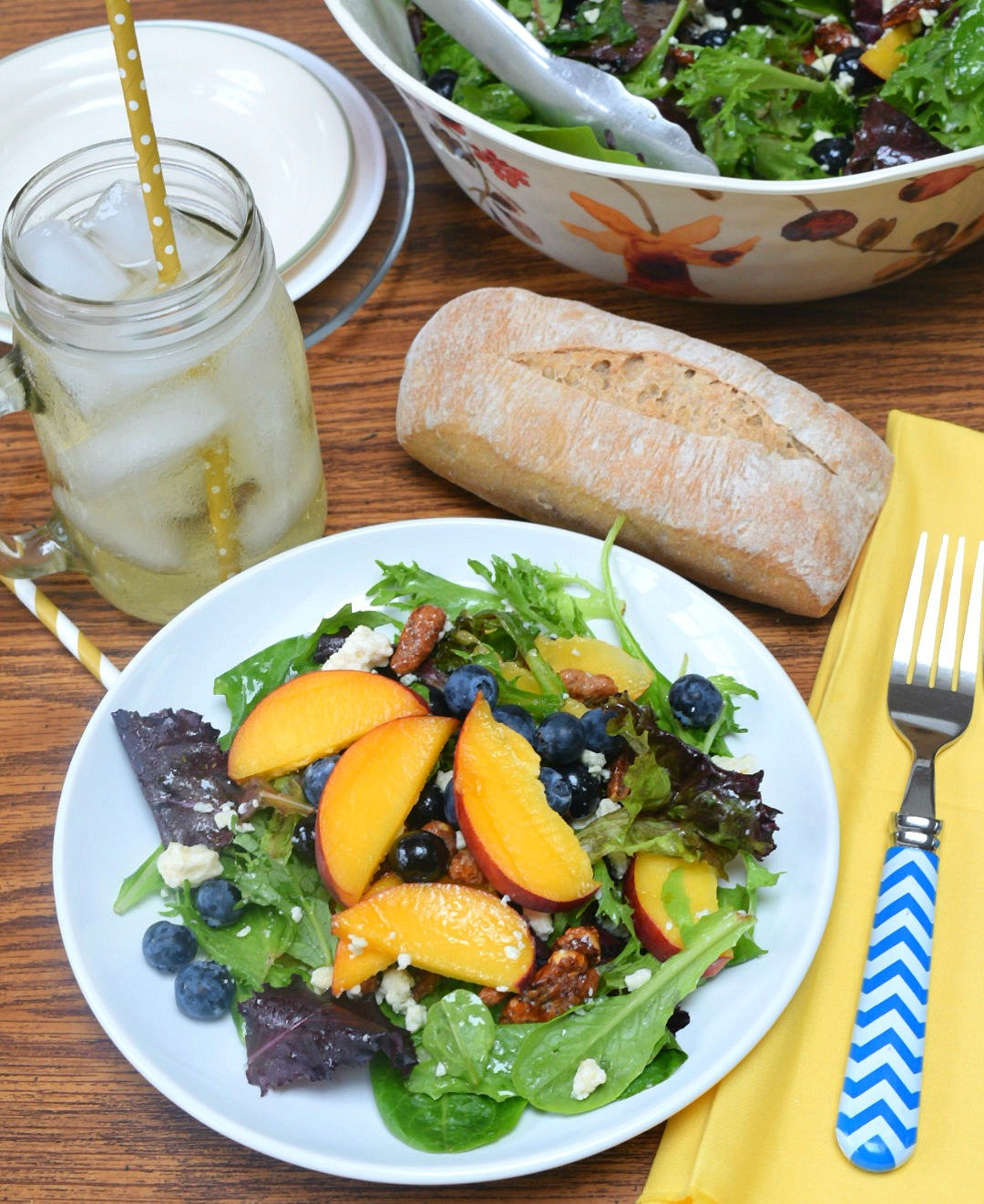 summer salad with a cool drink