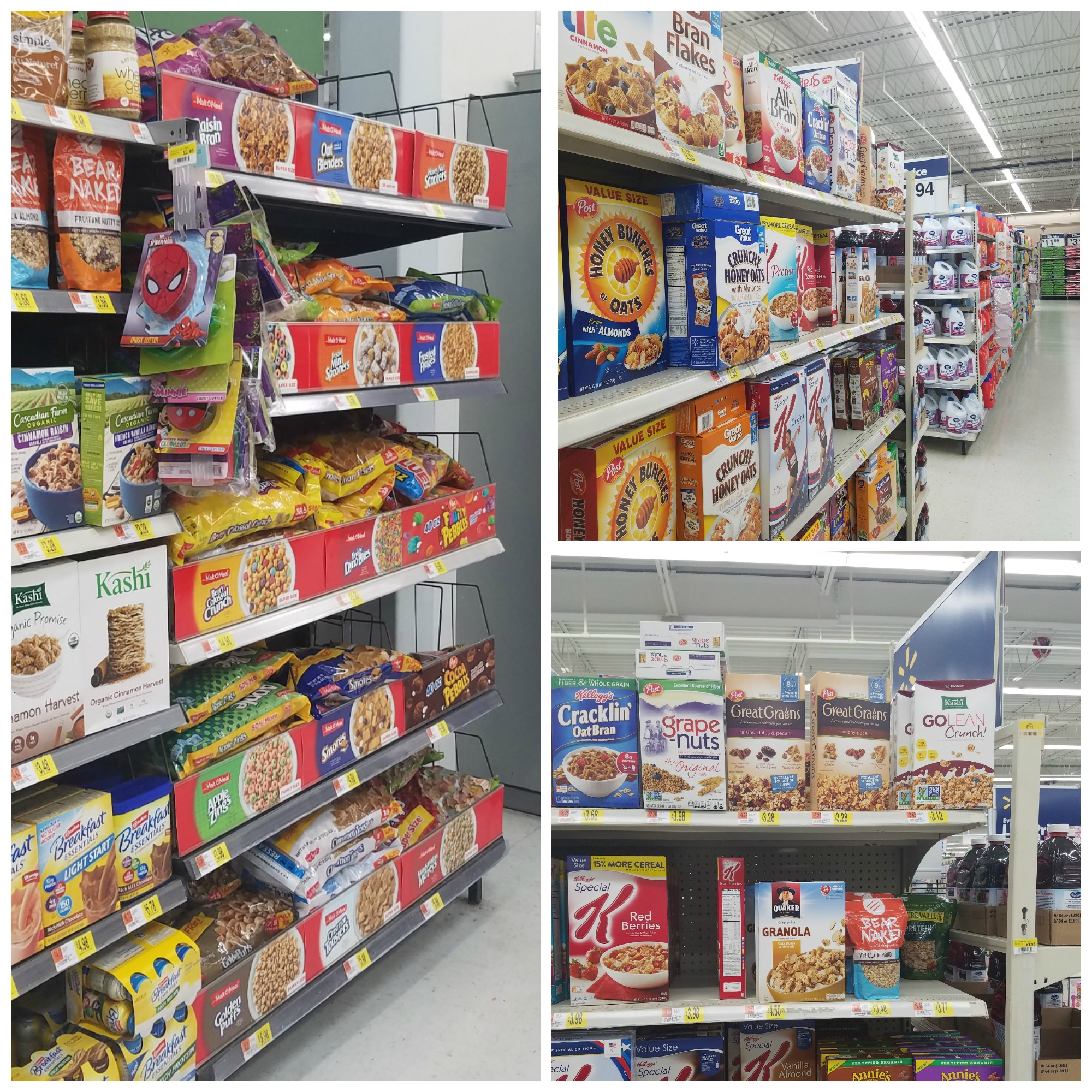 Post cereals at Walmart