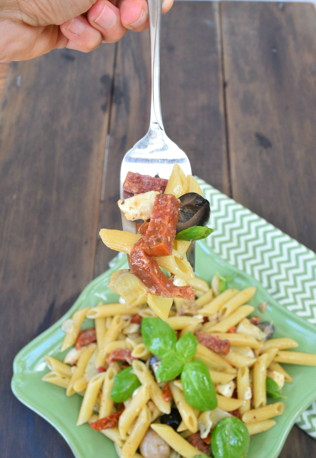 forkful of antipasto pasta salad