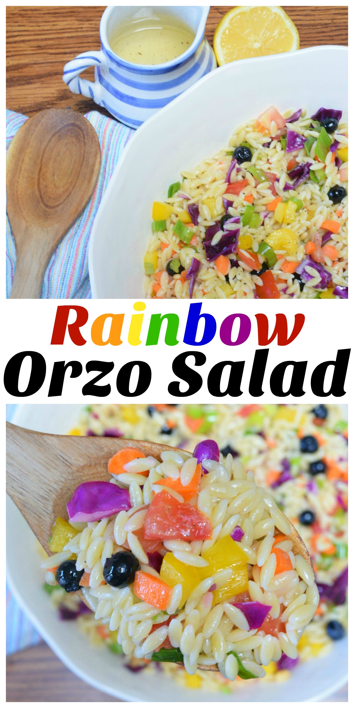 Rainbow Orzo Salad Collage